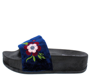Lucky26 Blue Velvet Flower Embroidered Sandal - Wholesale Fashion Shoes ?id=25406000461