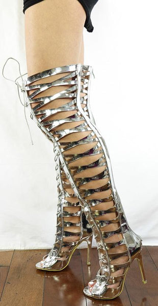 M0137 Silver Patent Strappy Lace Up Stiletto Boot - Wholesale Fashion Shoes ?id=27744712717