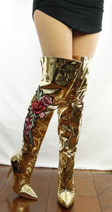 M4812 Gold Metallic Applique Over-the-knee Boot