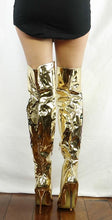 Load image into Gallery viewer, M4812 Gold Metallic Applique Over-the-knee Boot