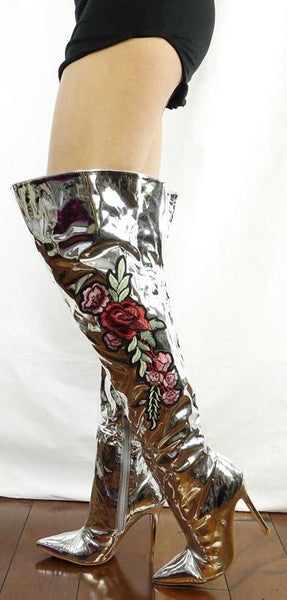 M4812 Silver Metallic Applique Over-the-knee Boot