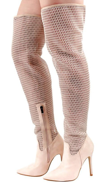 M484 Cream Mesh Thigh High Stiletto Boot