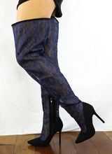 Load image into Gallery viewer, M487 Blue Lace Shaft Thigh High Pointed Toe Boot