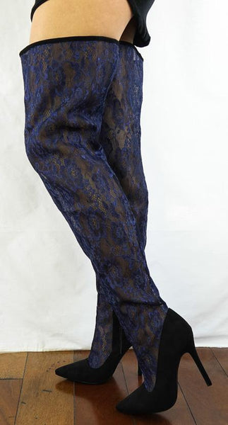 M487 Blue Lace Shaft Thigh High Pointed Toe Boot
