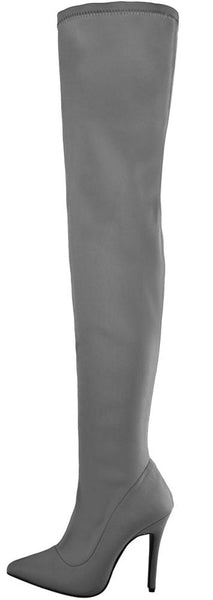 M891 Grey Pointed Toe Thigh High Sock Fit Boot