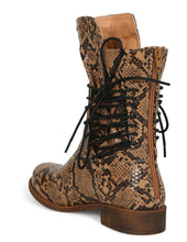Load image into Gallery viewer, Milano Brown Snake Studded Side Lace Up Combat Boot