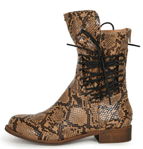 Milano Brown Snake Studded Side Lace Up Combat Boot