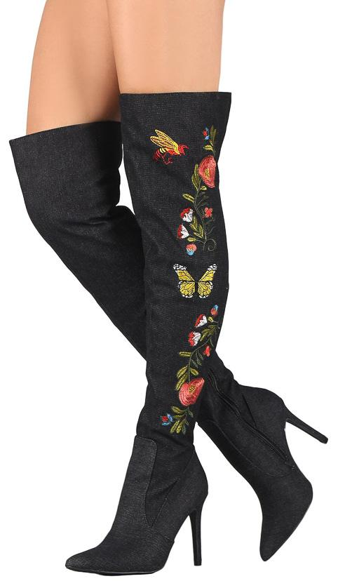 Mini110 Black Over the Knee Floral Embroidery Boot