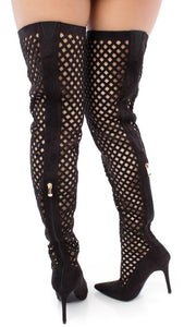 Mini2 Black Pointed Toe Multi Cut Out Thigh High Boot