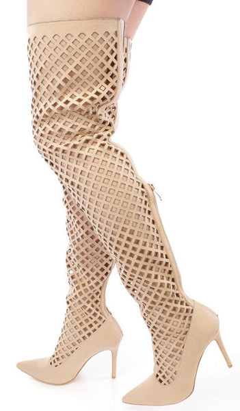 Mini2 Nude Pointed Toe Multi Cut Out Thigh High Boot