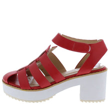 Load image into Gallery viewer, Maggie01 Pink Round Toe Caged Cut Out Short Chunky Heel