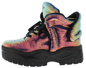 Magic Mile Black Holographic Lace Up Sneaker Boot