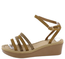 Load image into Gallery viewer, Makeup13 Tan Multi Strap Open Toe Ankle Stra Wedge