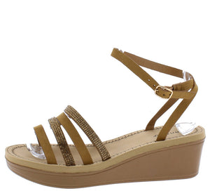 Makeup13 Tan Multi Strap Open Toe Ankle Stra Wedge