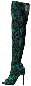 Cindy045 Green Fabric Women's Boot