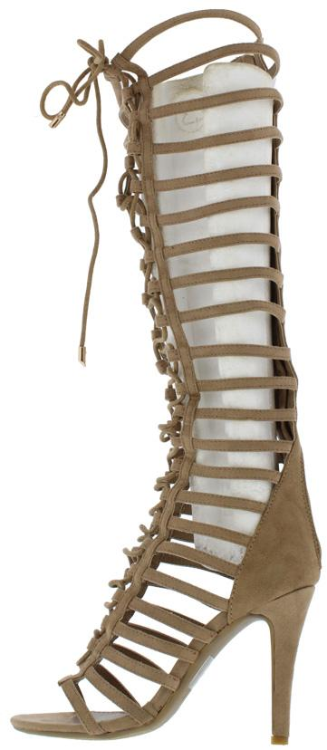 Mangosteen3 Beige Suede Gladiator Knee High Lace Upboot