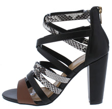 Load image into Gallery viewer, Mania04 Black Multi Strappy Open Toe Tapered Block Heel