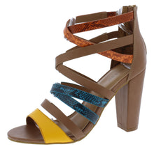 Load image into Gallery viewer, Mania04 Chestnut Multi Strappy Open Toe Tapered Block Heel