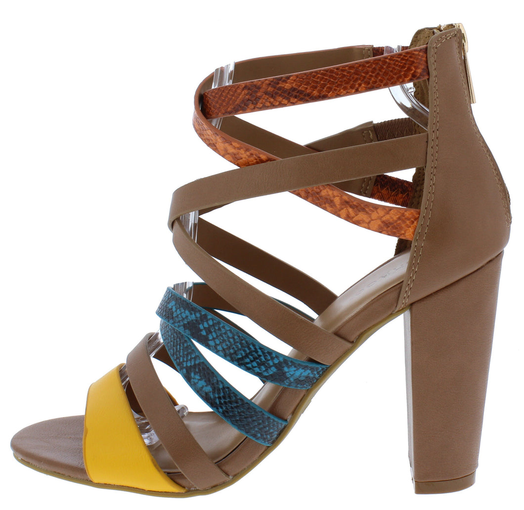 Mania04 Chestnut Multi Strappy Open Toe Tapered Block Heel