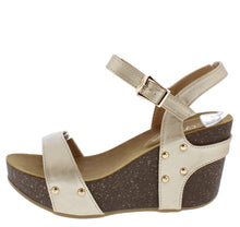 Load image into Gallery viewer, Mara09 Champagne Open Toe Slingback Ankle Strap Studded Wedge