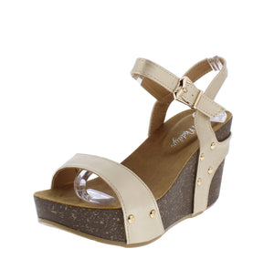 Mara09 Champagne Open Toe Slingback Ankle Strap Studded Wedge
