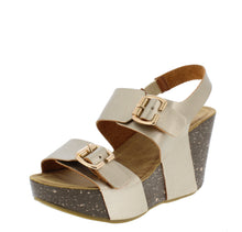 Load image into Gallery viewer, Mara25 Champagne Open Toe Dual Buckle Strap Wedge