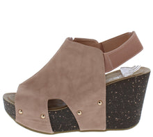 Load image into Gallery viewer, Mara26 Mauve Peep Toe Slingback Cut Out Platform Wedge
