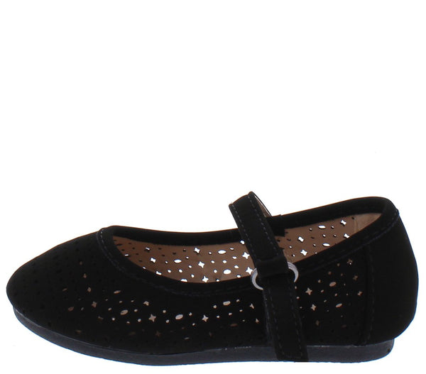 Margaret27a Black Round Toe Laser Cut Mary Jane Infant Kids Flat