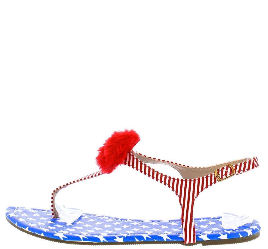 Isaiah096 Flag Fuzzy Pom Pom Thong Ankle Strap Sandal - Wholesale Fashion Shoes ?id=24897945741