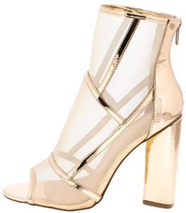 Mason Rose Gold Seamed Mesh Peep Toe Ankle Boot