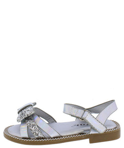 Maxine49ka Silver Glitter Bow Open Toe Cut Out Infants Sandal