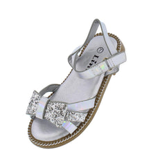 Load image into Gallery viewer, Maxine49ka Silver Glitter Bow Open Toe Cut Out Infants Sandal