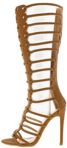 Mia1 Camel  Front Panel Design Gladiator Boot - Wholesale Fashion Shoes ?id=12877787841