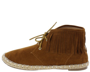 Samantha282 Tan Fringe Lace Up Flat