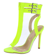 Load image into Gallery viewer, Mindy Lime Lucite Peep Toe Cut Out Boot