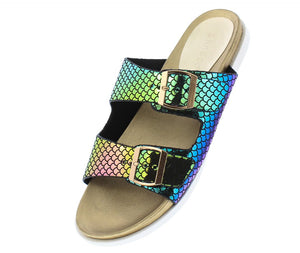 Mission72 Mermaid Open Toe Dual Buckle Strap Slide Sandal