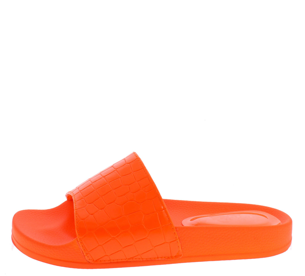 Alison211 Orange Open Toe Mule Slide Sandal - Wholesale Fashion Shoes