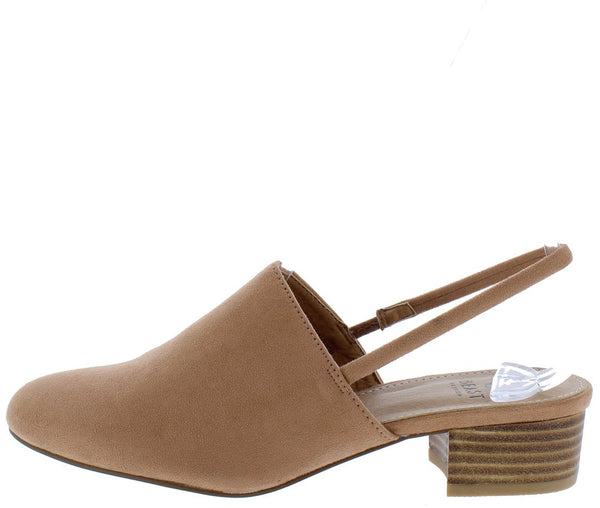 Morocco01 Camel Almond Toe Slingback Stacked Mule Heel