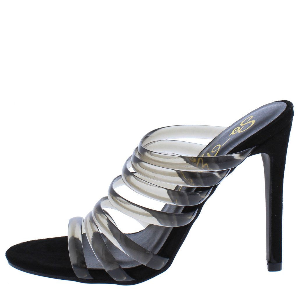 Nadie Black Jelly Strappy Open Toe Mule Stiletto Heel - Wholesale Fashion Shoes ?id=12010521231425