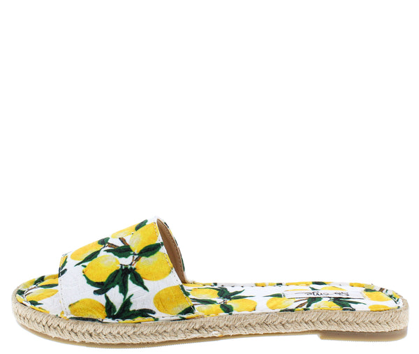 Nicole Multi Lemon Open Toe Espadrille Flat Slide Sandal