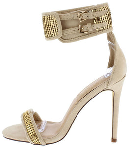 Amelia177 Nude Embellished Open Toe Ankle Band Stiletto Heel