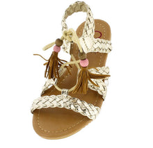 Load image into Gallery viewer, Omh8222ks Gold Braided Strap Lace Up Bead Tassel Kids Sandal