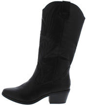 Load image into Gallery viewer, Otani02 Black Pull On Western Short Heel Boot