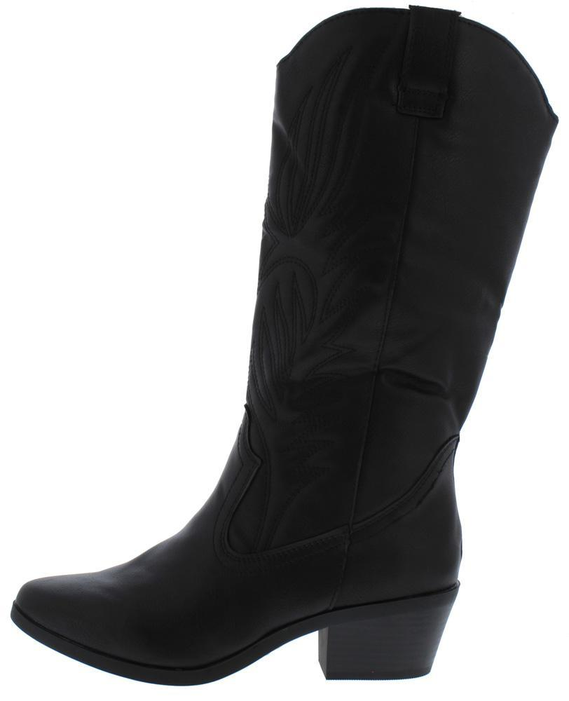 Otani02 Black Pull On Western Short Heel Boot