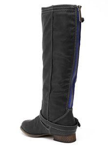 Outlaw81 Black Knee High Back Zipper Buckle Boot