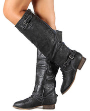 Load image into Gallery viewer, Outlaw81 Black Knee High Back Zipper Buckle Boot