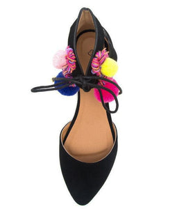 Pika98 Black Nubuck Pu Pompom Cut Out D Orsay Flat
