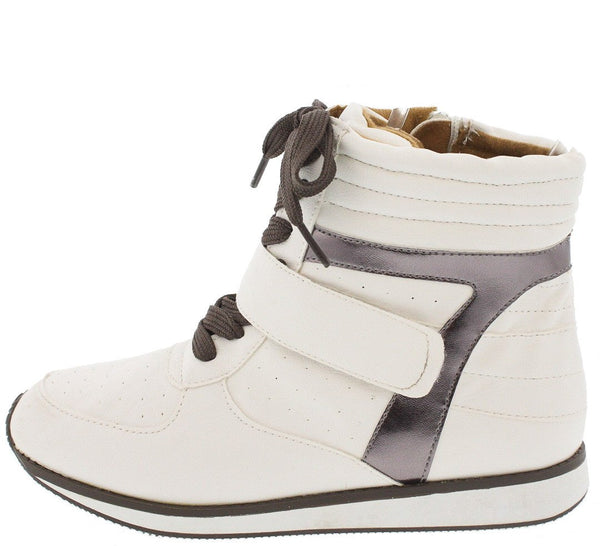 5dec6fb6a1e Pippa08 White Two Toe Front Strap Lace Up Sneaker Wedge - Wholesale Fashion  Shoes