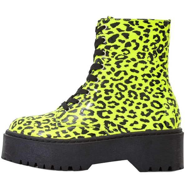 Poppin Neon Yellow Lace Up Lug Sole Boot