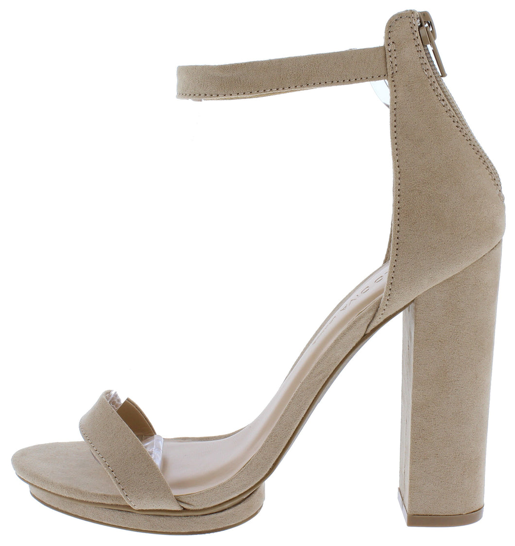 Pace02 Natural Open Toe Ankle Strap Tall Block Heel